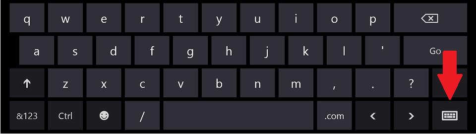 Metro on-screen keyboard