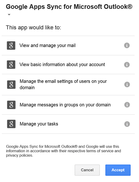 setup google apps sync for outlook