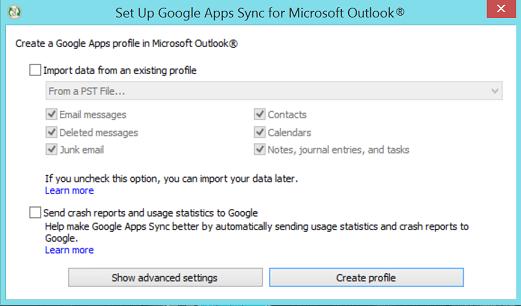 setup google apps sync for outlook