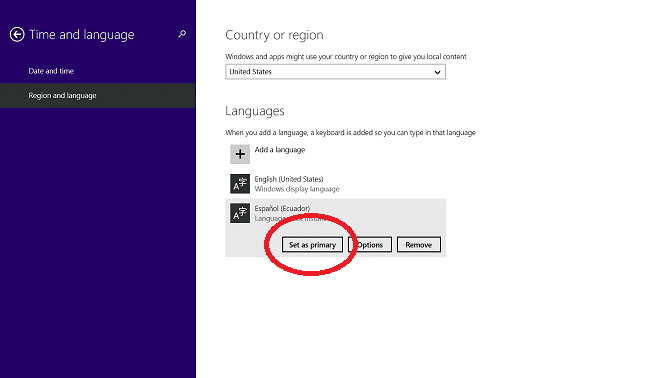 Change Languages in Windows 8