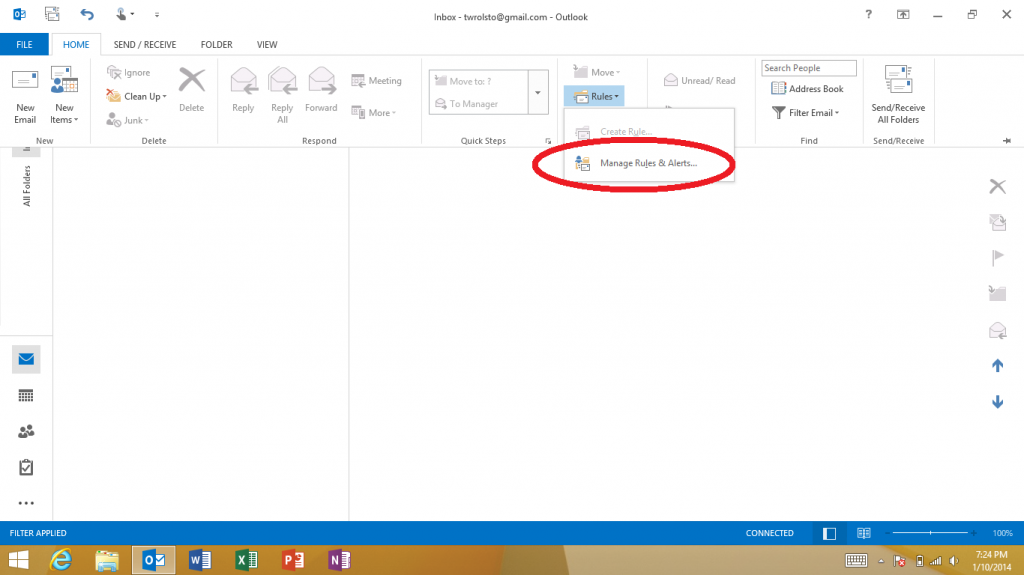 outlook how to stop email going to junk