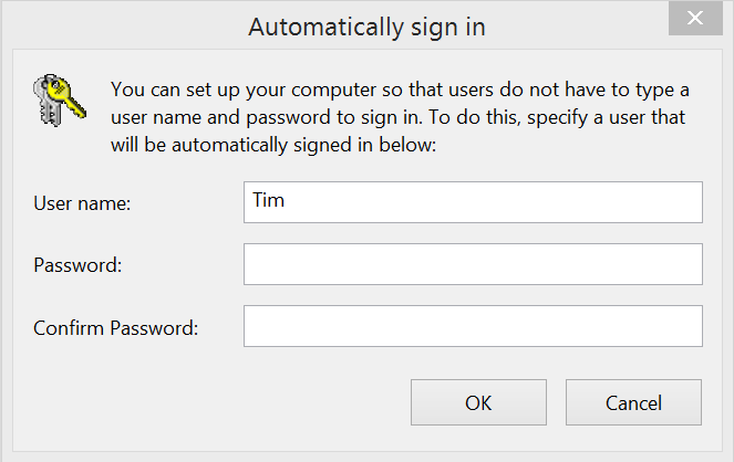 auto logon to windows