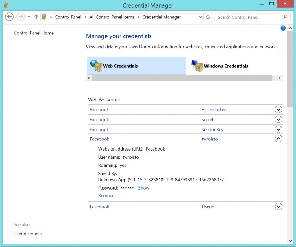 saved passwords on windows 8