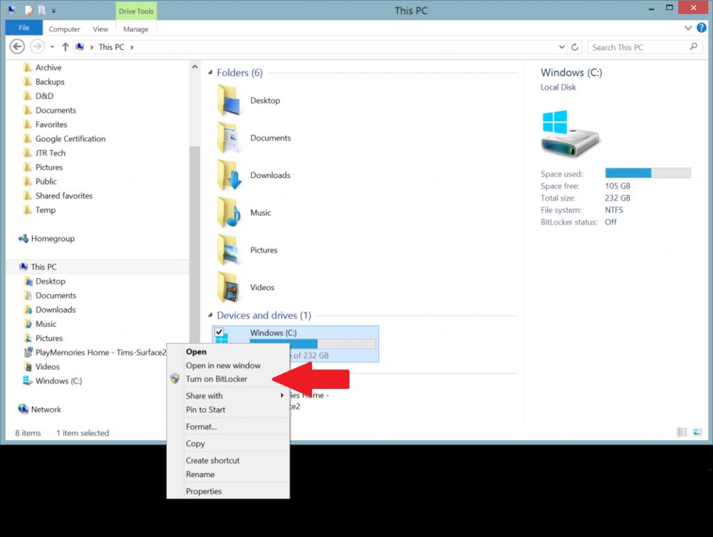 Bitlocker on Surface: Turning it on