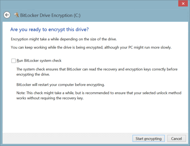 Bitlocker on Surface Turning it on