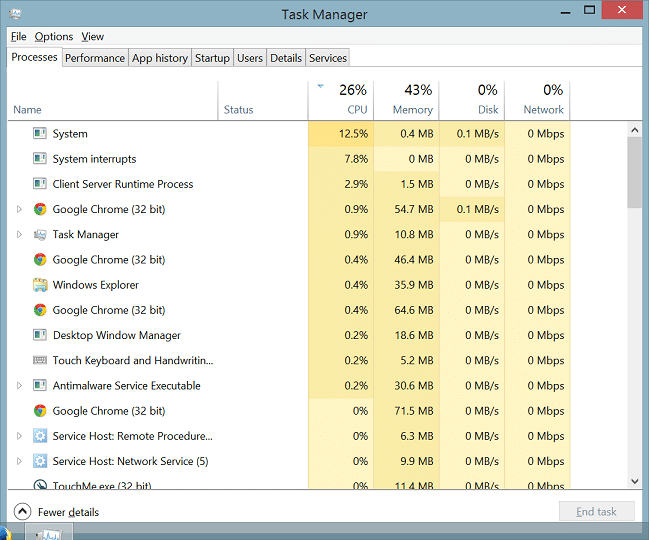 Windows 8 Task Manager: Processes Tab