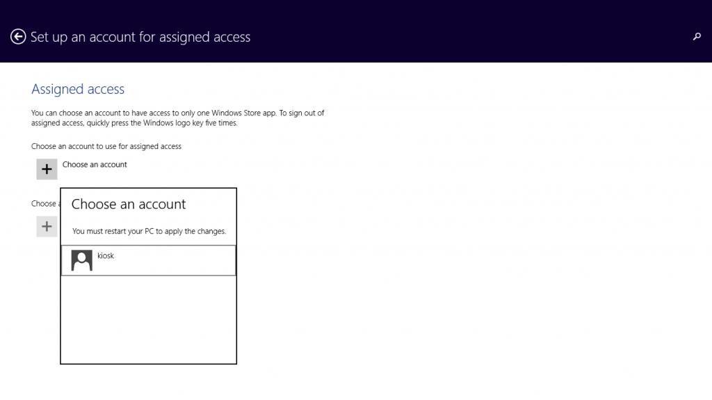 Turn a Surface into a Windows Kiosk-Choose an account