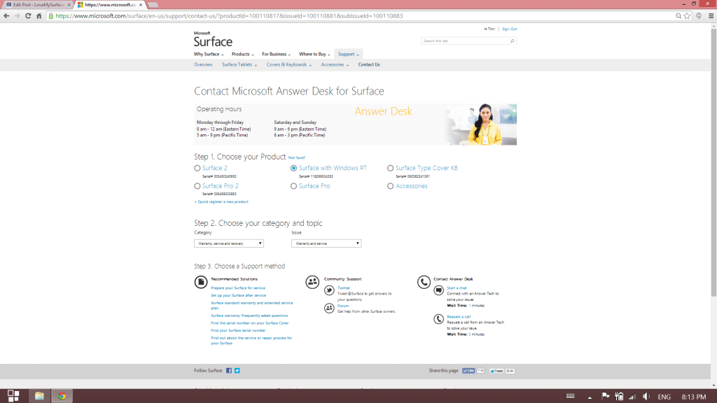 How to get Microsoft support for Surface tablet hardware-Contact us