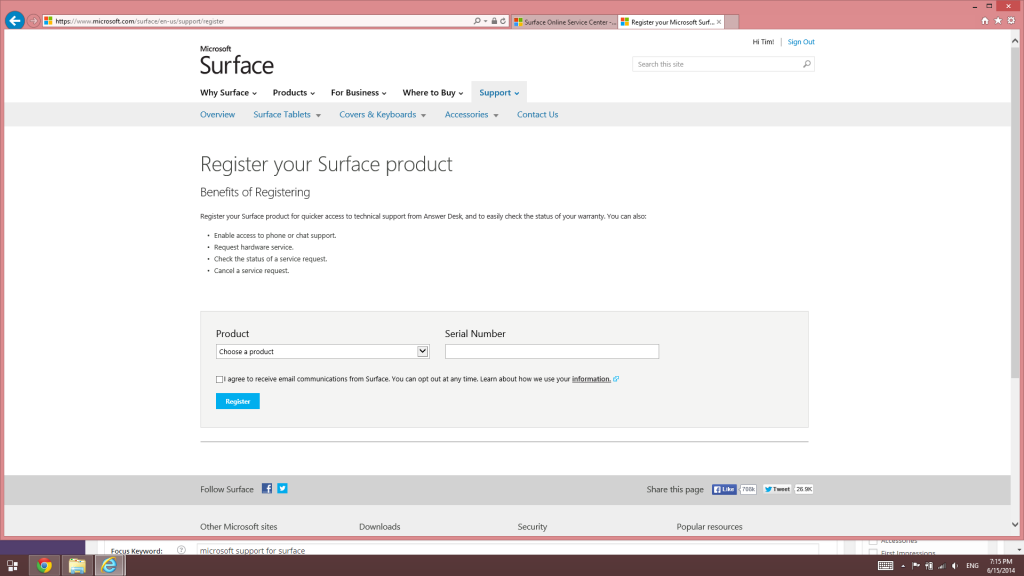 How to get Microsoft support for Surface tablet hardware-Register a product