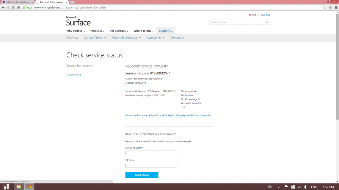 How to get microsoft support for surface tablet hardware love my