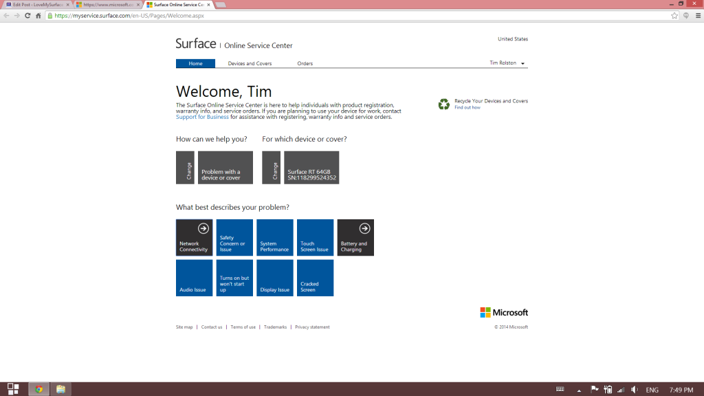 How to get Microsoft support for Surface tablet hardware-Surface Support site-Schedule Service 4