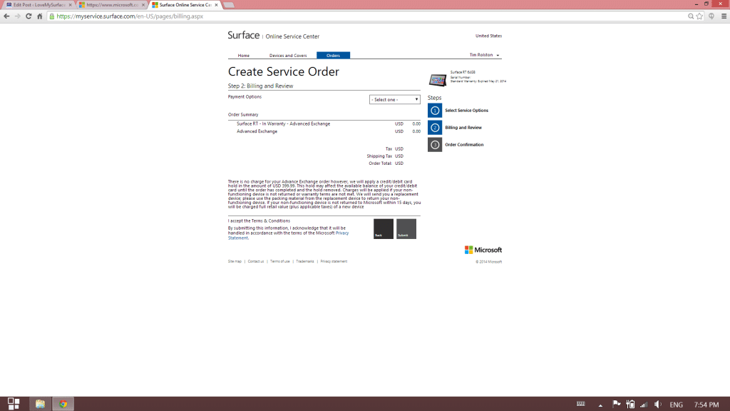 How to get Microsoft support for Surface tablet hardware-Surface Support site-Schedule Service10