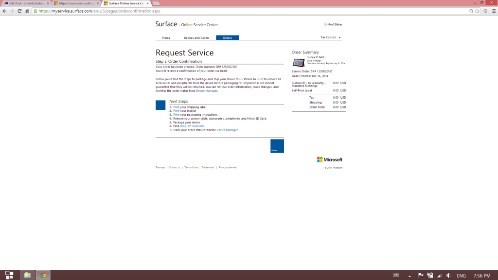 How to get Microsoft support for Surface tablet hardware-Surface Support site-Schedule Service11
