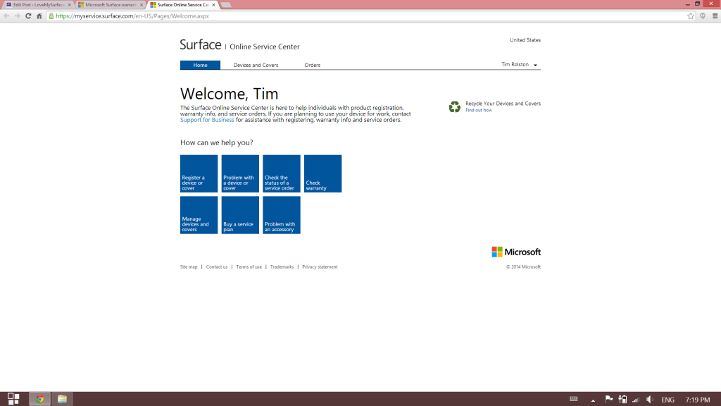 How to get Microsoft support for Surface tablet hardware-Surface Support site-Schedule Service2
