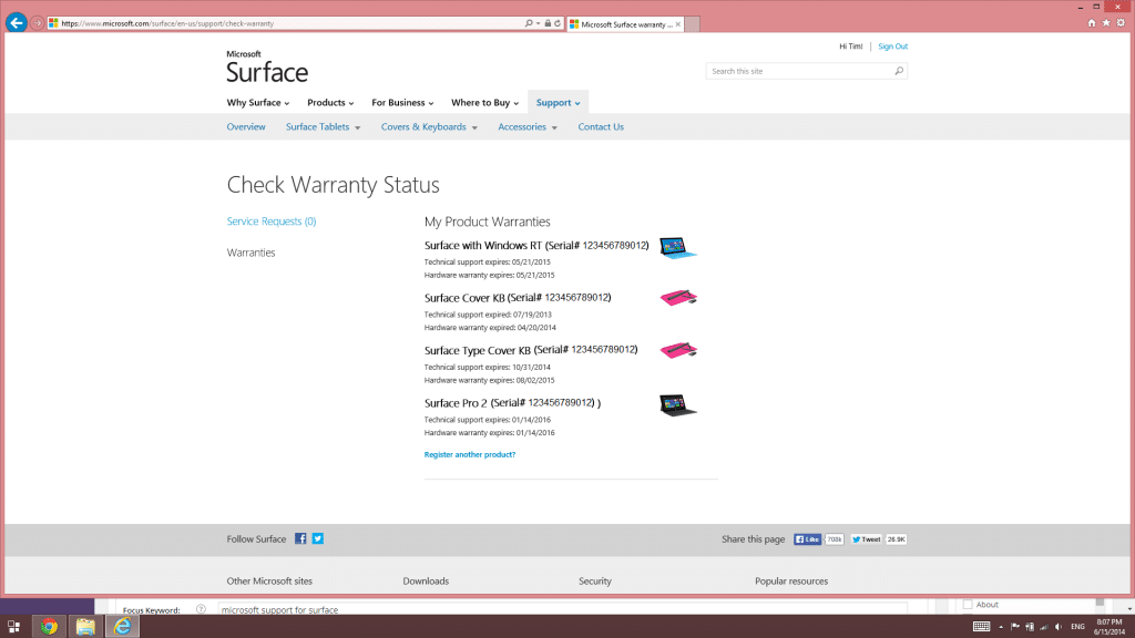 How to get Microsoft support for Surface tablet hardware-Warranty status