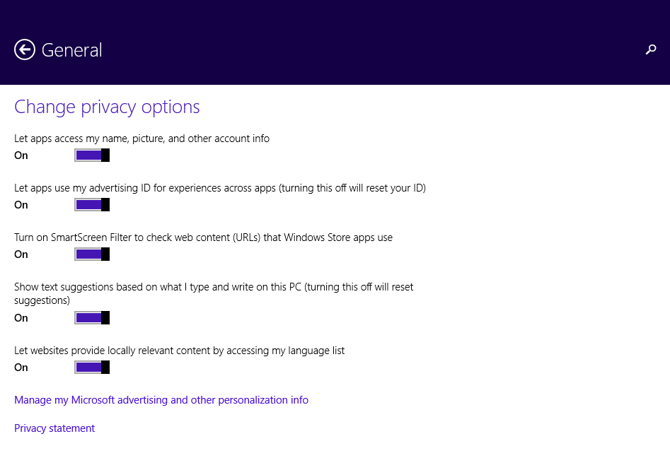 Privacy Settings on the Microsoft Surface - General