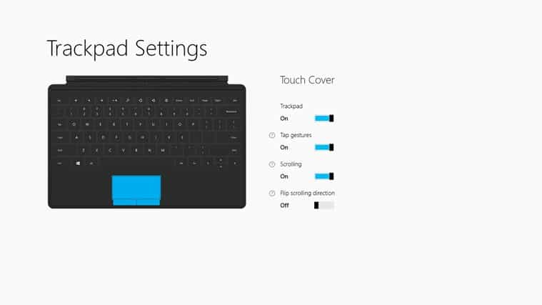 Troubleshoot Surface Type Cover Touchpad Issues - Trackpad Settings app