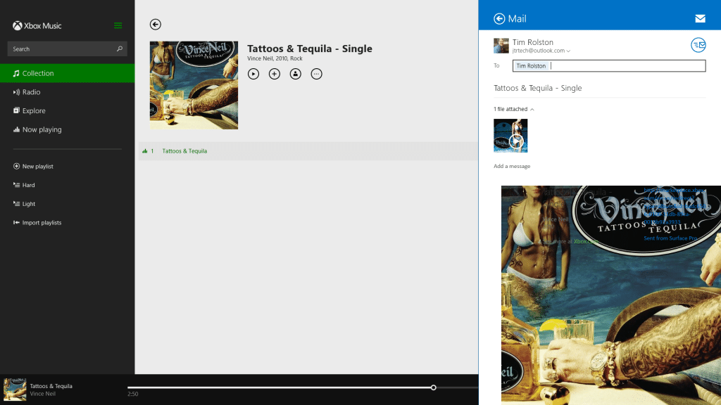 Using the Windows 8 Share Charm on your Surface-Share Music Email