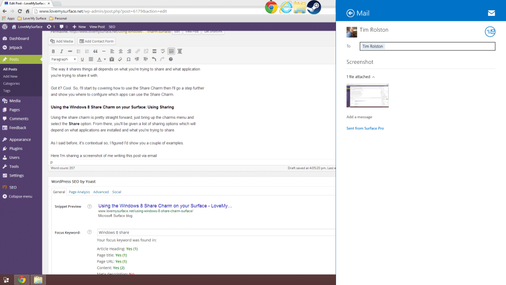 Using the Windows 8 Share Charm on your Surface-Share Screenshot Mail