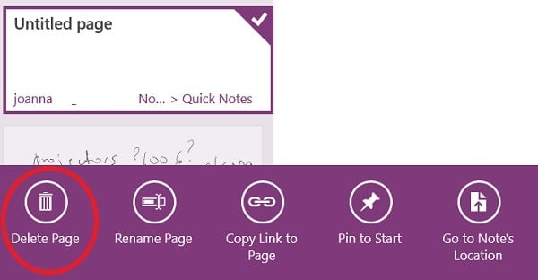 OneNote for Surface Pro 3 - delete notes