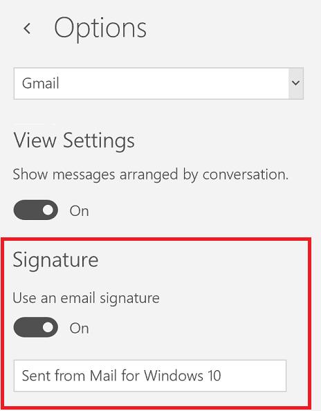 email signature Windows Mail App