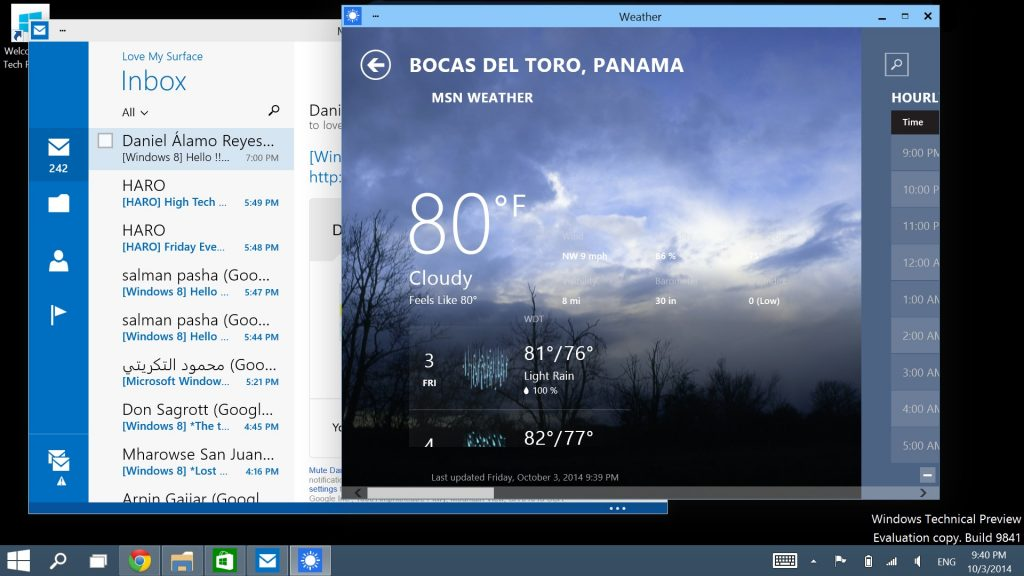 Windows 10 Preview on Surface-Apps in Windows