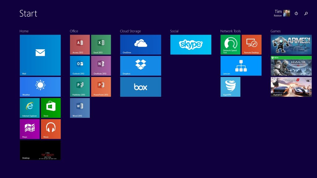Windows 10 Preview on Surface-Start Screen