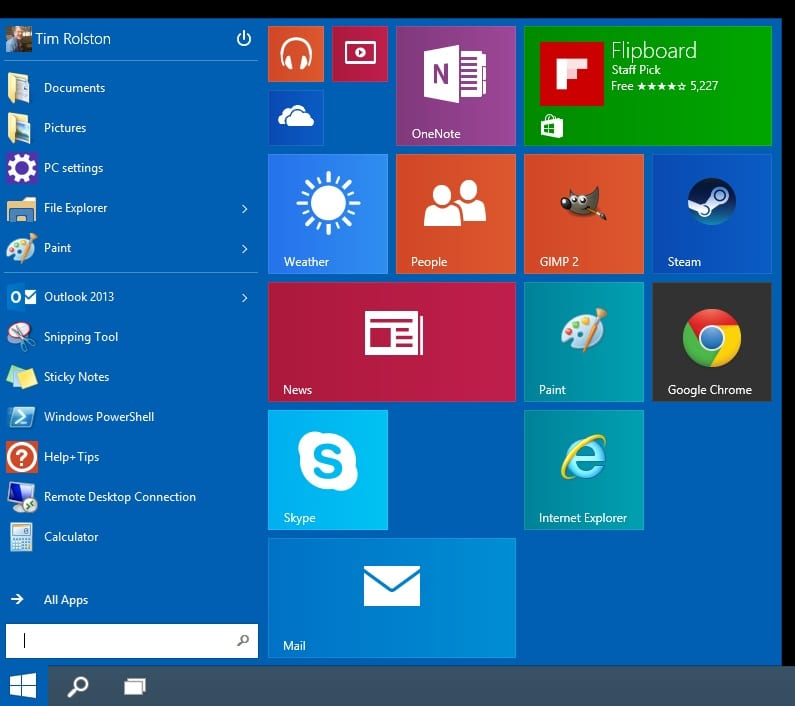 Windows 10 Preview on Surface-Task Menu