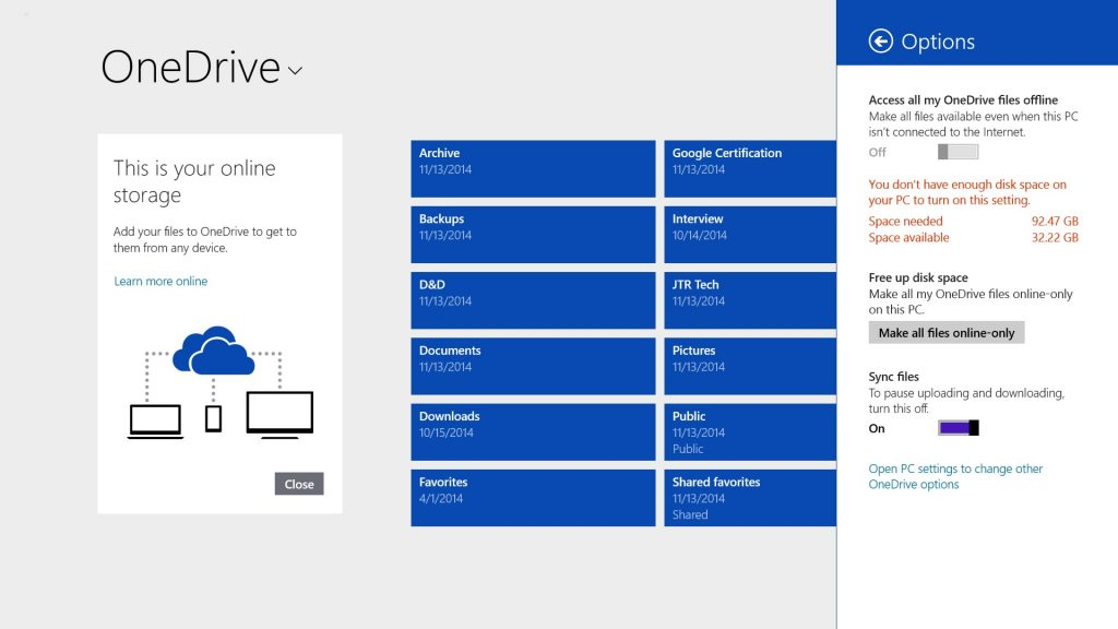 Free Up Space on Surface Tablets with OneDrive Options-Offline-Modern
