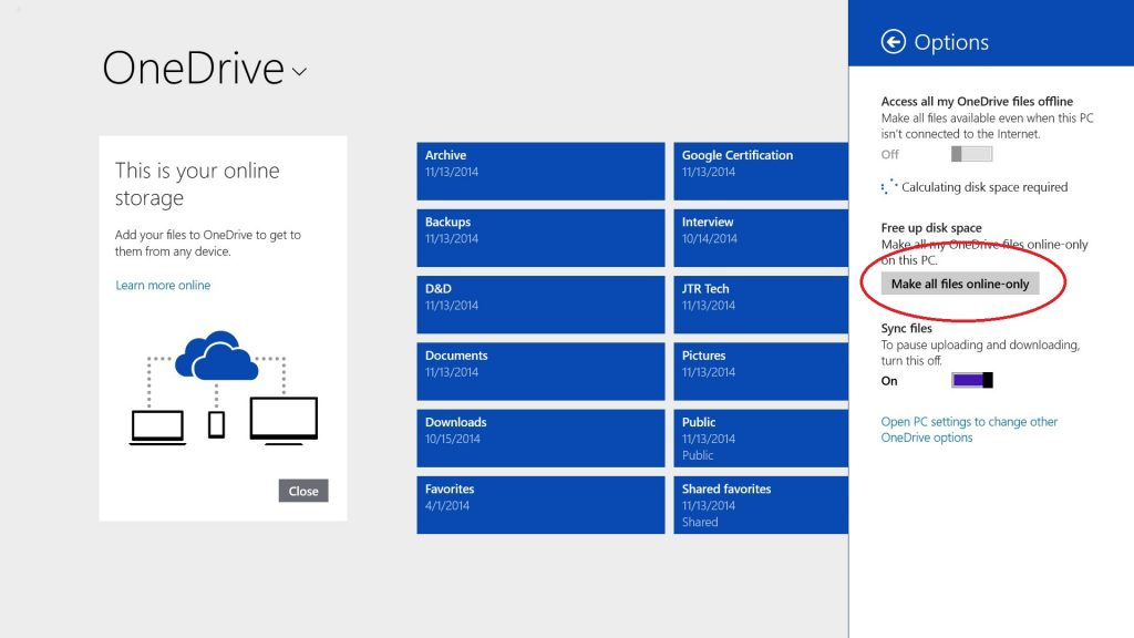Free Up Space on Surface Tablets with OneDrive Options-Online-Only-Modern