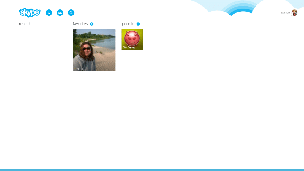 Using Skype on Surface Tablets - Homescreen with contact