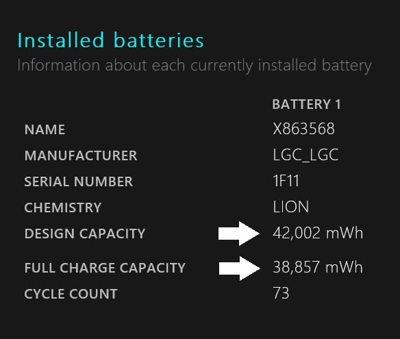 How To Diagnose Surface Battery Drain Issues-Design capacity