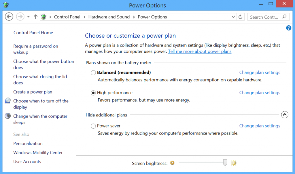 Microsoft Surface Power Settings