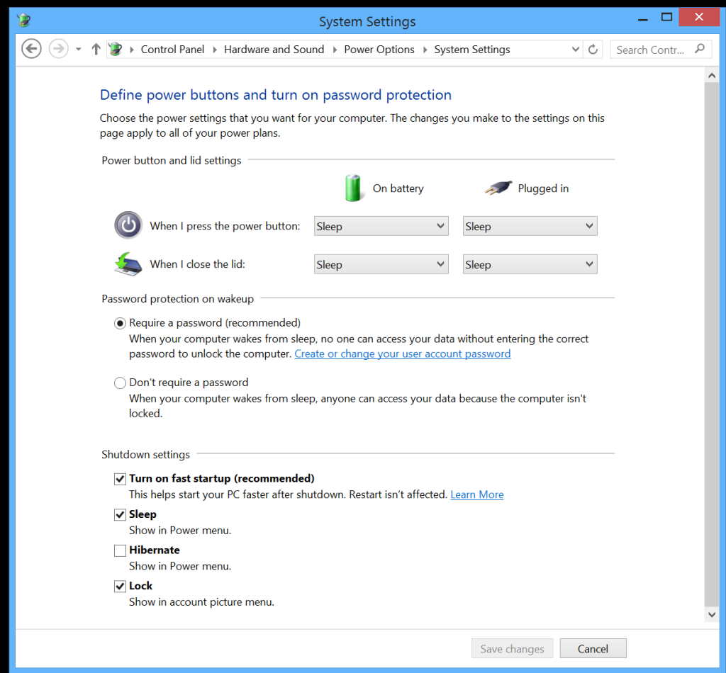 Microsoft Surface Power Settings - Buttons