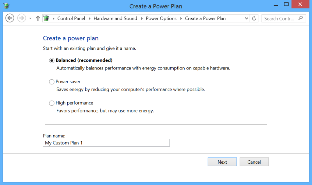 Microsoft Surface Power Settings - Create a Plan 1