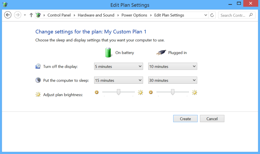 Microsoft Surface Power Settings - Create a Plan 2
