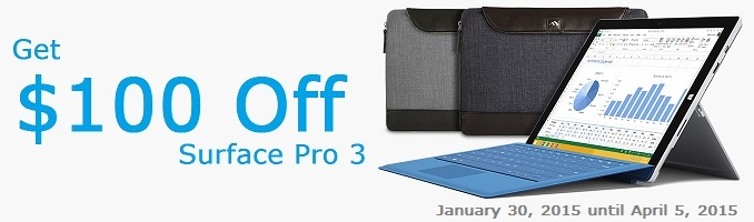 $100 Off Surface Pro 3