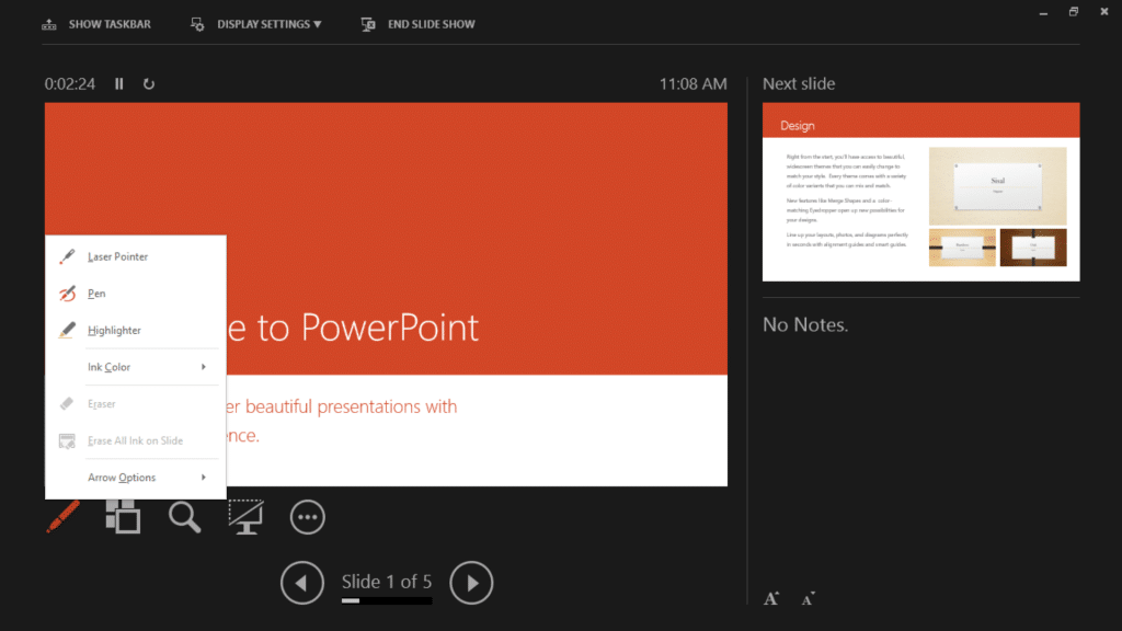 Presenting with PowerPoint 2013 on Surface Tablets - Pen Tools
