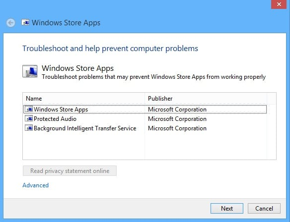 Fix Windows Store Problems on Your Surface - Troubleshooter 1