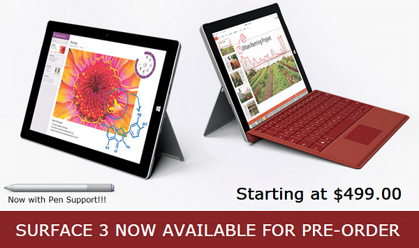 Surface 3 Available for Preorder
