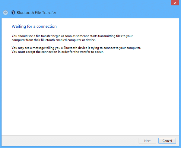 Send Files Via Bluetooth To Surface - Bluetooth Pending