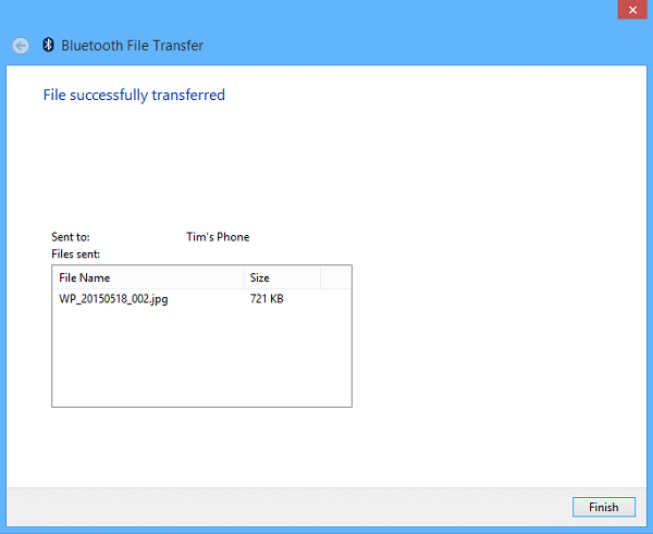Send Files Via Bluetooth To Surface - Finish