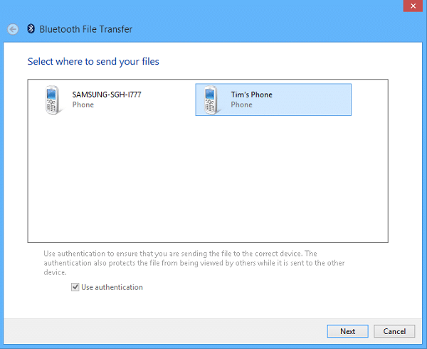Send Files Via Bluetooth To Surface - Select Phone