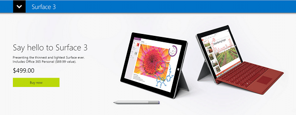 Surface 3 Available Now