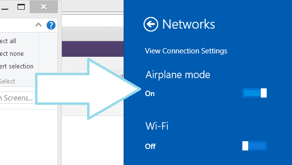 Remove an Account from the Windows 8 Mail App-Airplane Mode