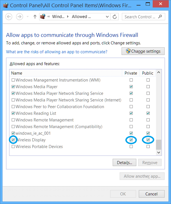 how to allow miracast in windows 10 firewall