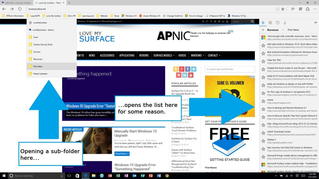 Edge Browser on Surface Subfolder