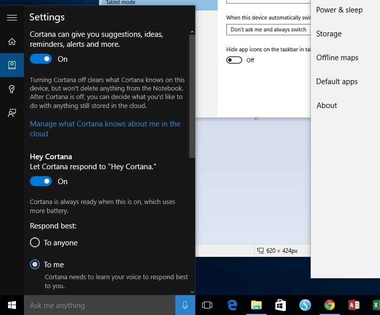 Windows 10 Desktop-Cortana Settings