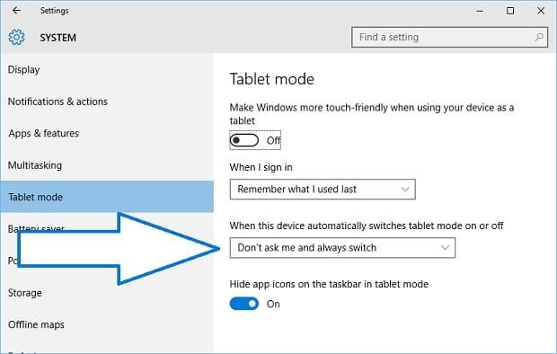 Windows 10 on Surface Adjust Continuum Settings