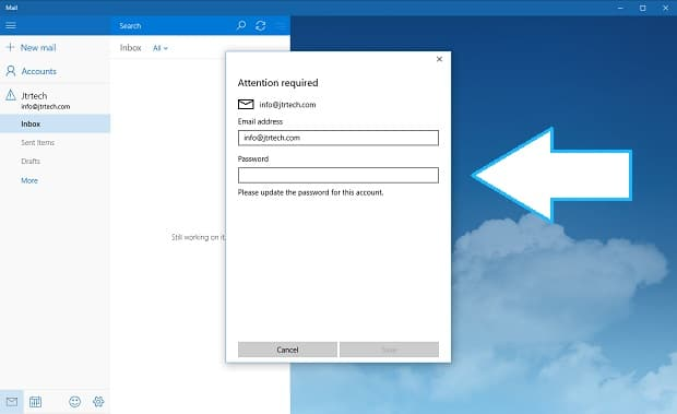 Windows 10 on Surface Mail PW